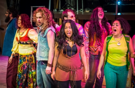 Let the Sunshine In - L-R - Tribe (Isaiah Crowson), Tribe (EmilyRose Frasca), Berger (Jeff Orton), Sheila (Sara Porkalob), Tribe
