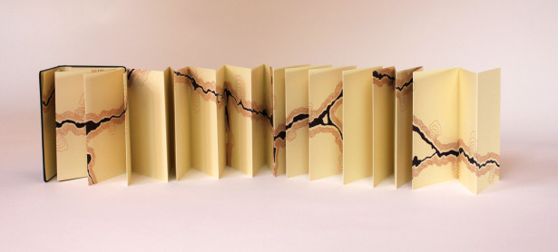 "Libby Gerber, Topography of a Street Crack (1511 Westerly Terrace), archival marker on book, 3.5""x165"", 2013."