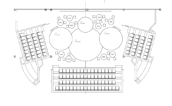 Diagram of THE NANCE seating: 10 Cabaret Tables distributed around the stage